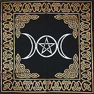 "Triple Moon Pentagram altar cloth 24"" x 24"""